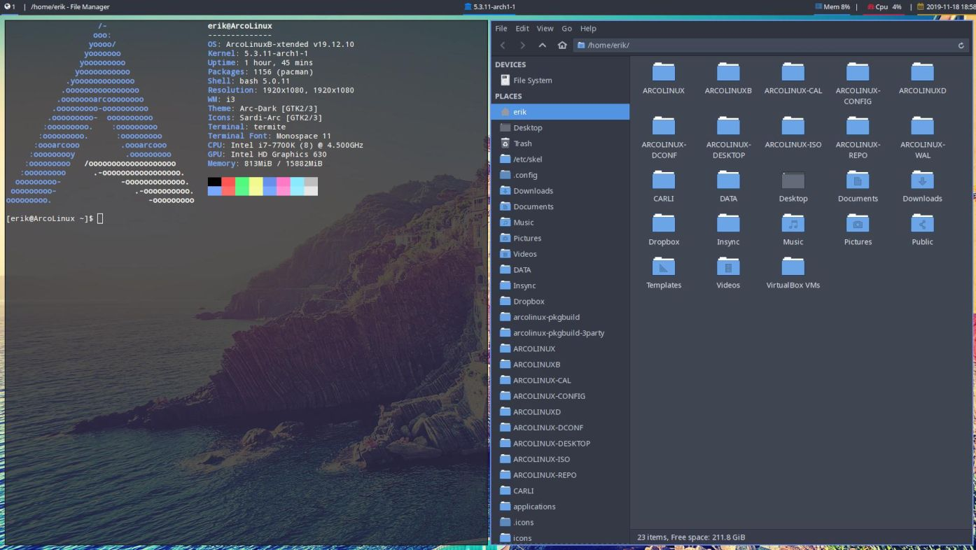 ArcoLinux 19.12 i3 Preview - Courtes: ArcoLinux