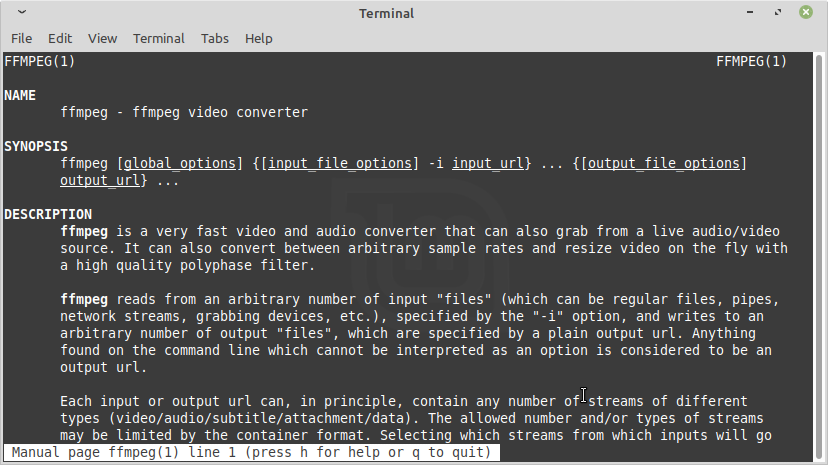 FFmpeg preview in Linux Mint