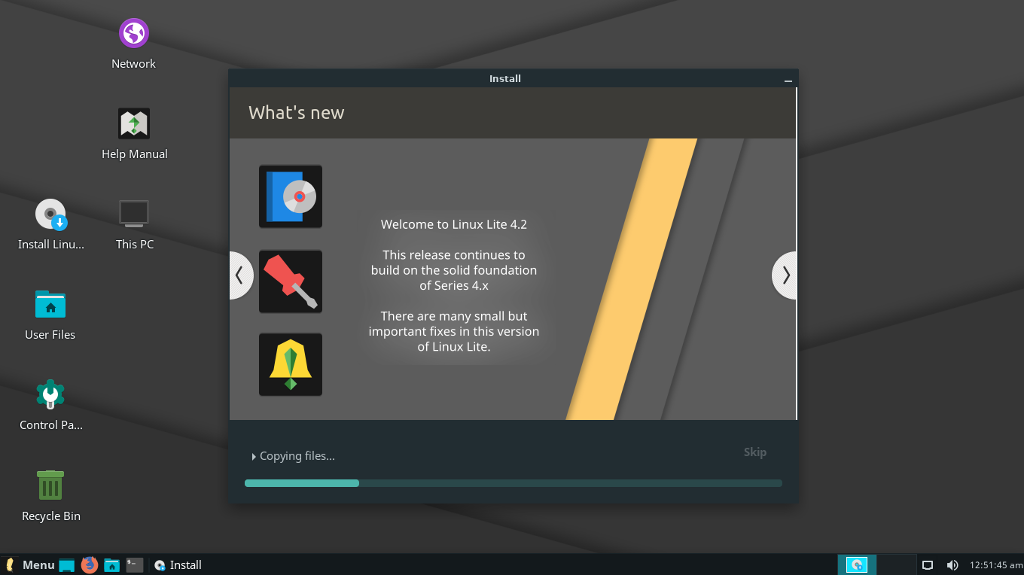 A preview of Linux Lite 4.2 installer