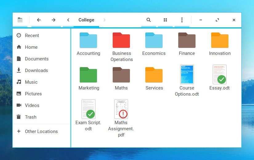 A demo of individual folder styling in Zorin OS 12.3