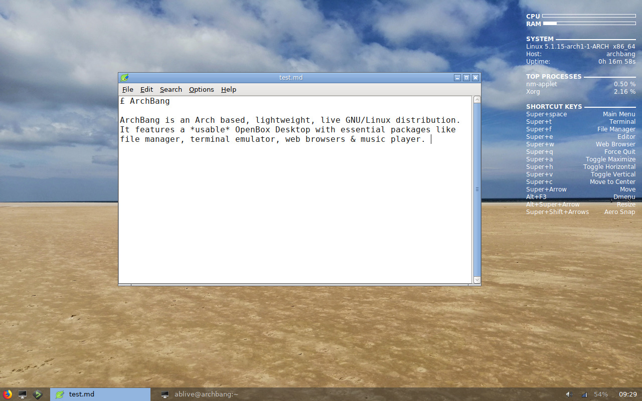 Exploring ArchBang 0507 Summer - Yet another OpenBox