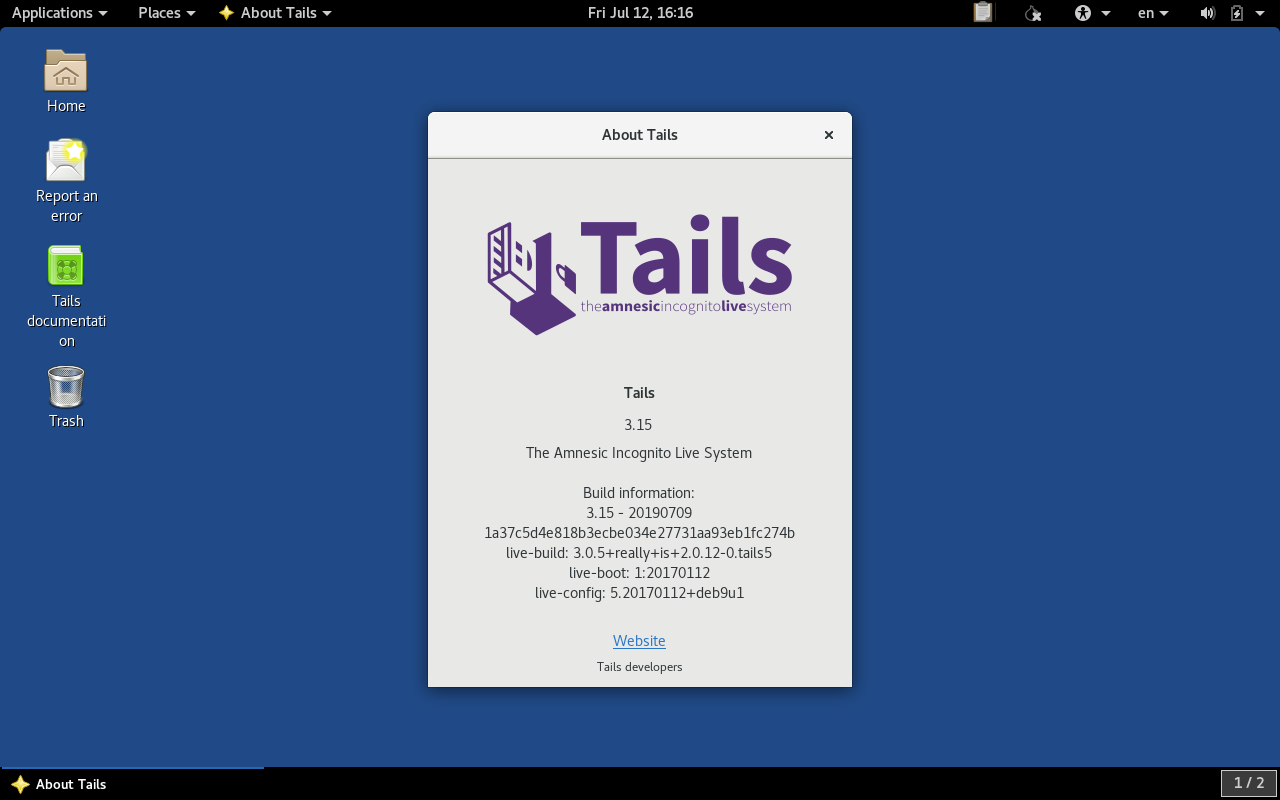 About Dialog in Tails 3.15